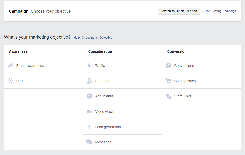 Facebook Ads Marketing Objectives